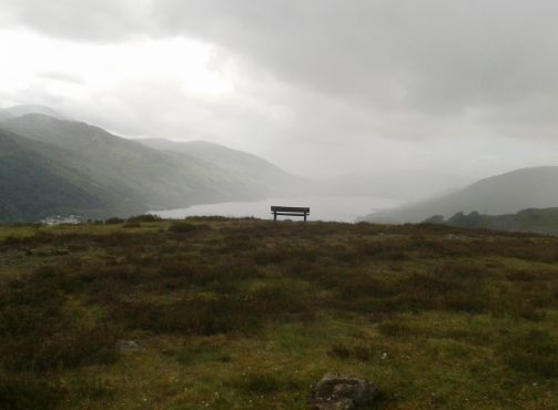View of the bench from the hilltop - scotland