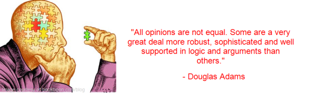 Douglas Adams - opinions - logic - arguments - robust
