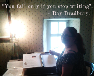 KL.Caley-Writing-Thomas Carlyle desk - Ray Bradbury quote